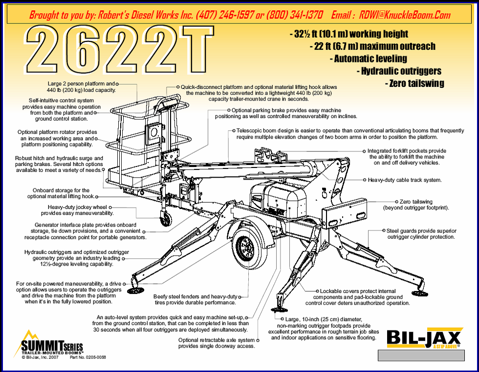 2622T Bil-Jax Aerial work platform information and lift chart.