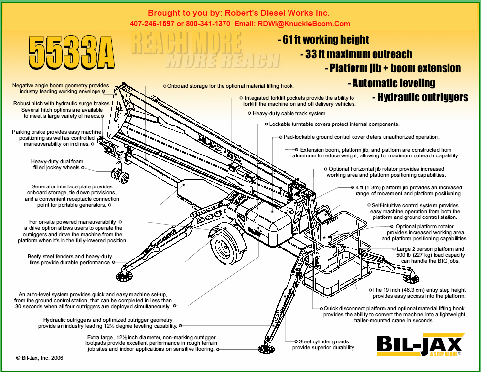 5533A Bil-Jax Aerial work platform information and lift chart.